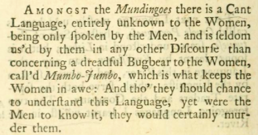 "Francis Moore's description of the ""Mumbo-Jumbo."" Screenshot from the Open Library."