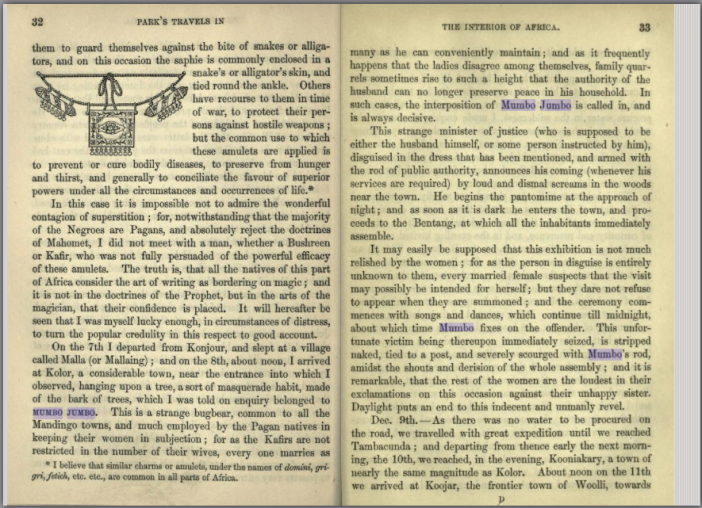 "Mungo Park's description of the Mandingo ""Mumbo Jumbo."" Screenshot from Open Library."