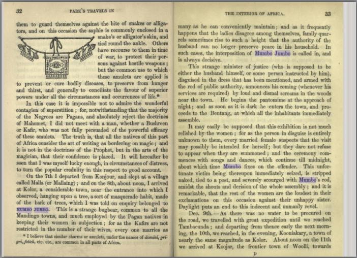 "Mungo Park's description of the Mandingo ""Mumbo Jumbo."" Screenshot from Open Library."