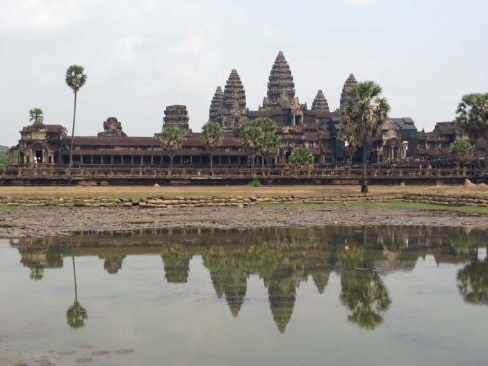 "Many a farang now come to photograph this view of Angkor Wat, which Henri Mouhot sketched in the very travel journal that gives English one of the earliest attestations of ""farang."""
