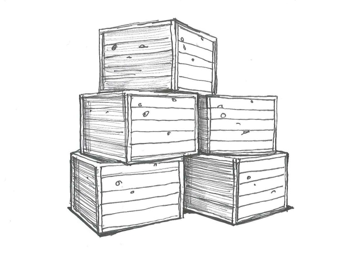 """Humans should not have to be cargo. """"Cargo crates."""" Ink on paper. Doodle by @andrescalo."""
