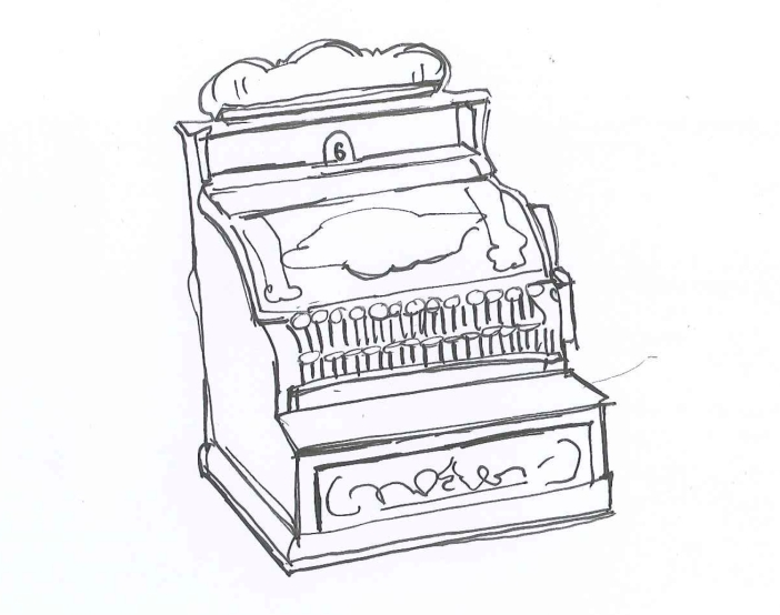 "Over the centuries, ""clerk"" has taken on different registers. ""Register.""  Ink on paper. Doodle by @andrescalo."