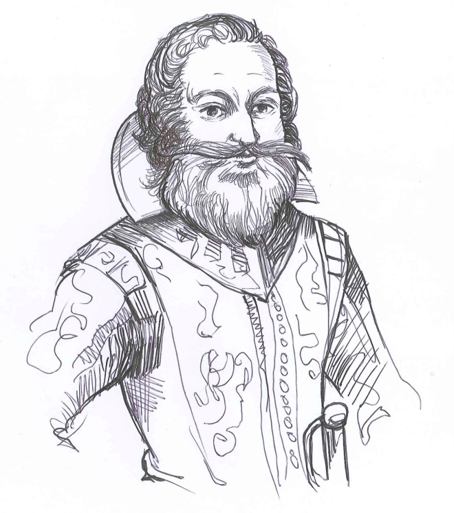 """Captain John Smith."" Ink and ballpoint on paper. Doodle by @andrescalo."