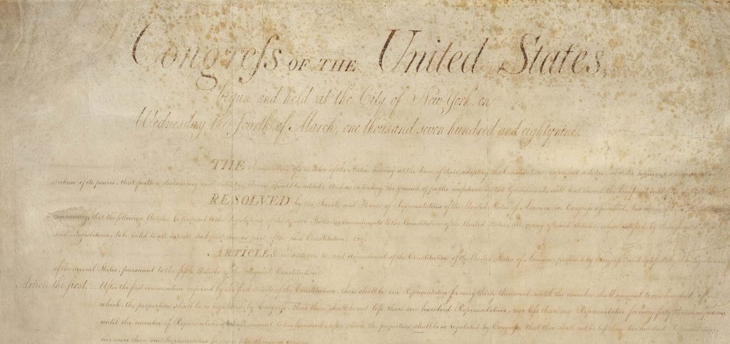Cropped image of the first page of the original copy of the Bill of the Rights of the US Constitution